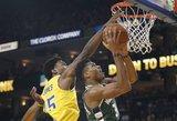 """""""Bucks"""" krepšininkai nušlavė NBA čempionus jų pačių tvirtovėje"""