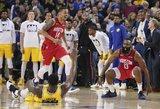 """Hardenas įspūdingu tritaškiu parklupdė NBA čempionę """"Warriors"""""""