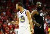 """Curry ir Duranto duetas nukalė lemiamą pergalę """"Warriors"""" – vėl žais NBA finale"""