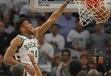 """""""Bucks"""" atsitiesė ir išlygino seriją, """"Warriors"""" dar kartą įveikė """"Rockets"""""""