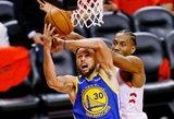 """""""Warriors"""" pratęsė NBA finalo seriją, tačiau vėl prarado Durantą"""