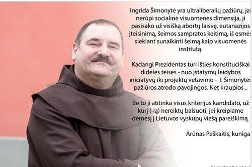 Kunigų pasisakymai prezidento rinkimų fone (nuotr. facebook.com)