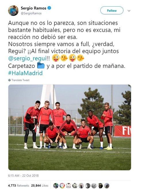 Sergio Ramoso žinutė (nuotr. Twitter)