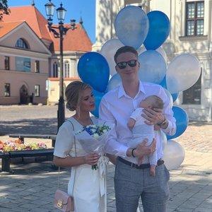 Marius Grigonis su žmona Salomėja pakrikštijo sūnų