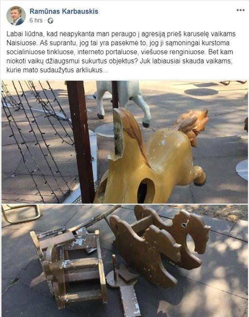 R. Karbauskio įrašas (nuotr. facebook.com)