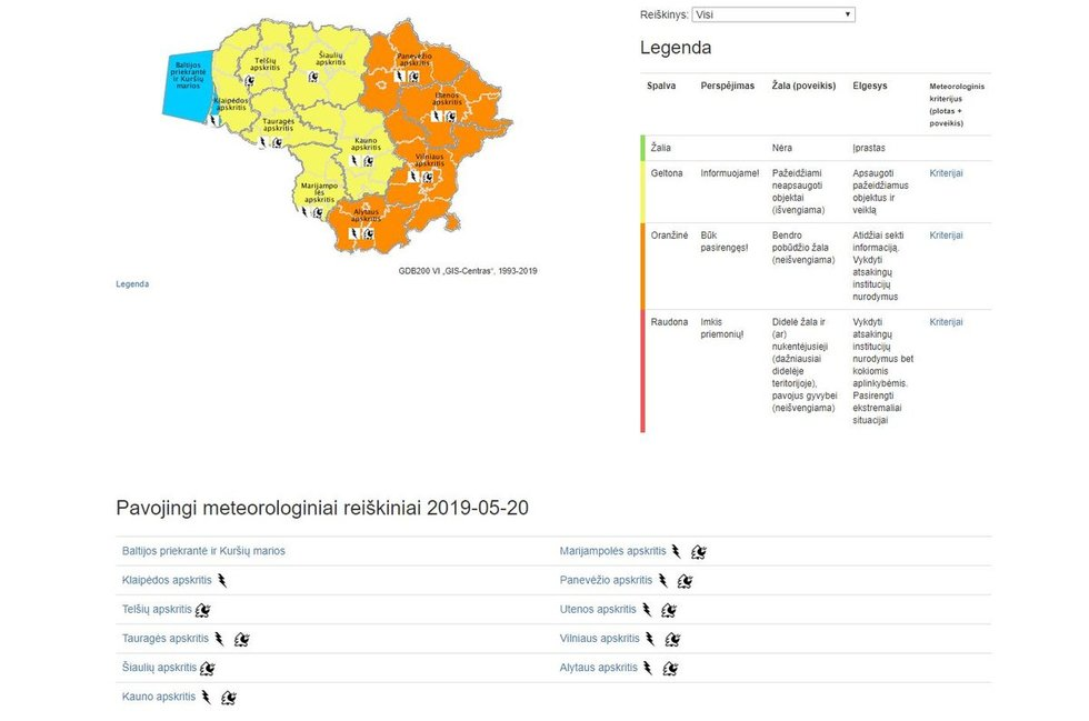 įspėjimai dėl žaibų, meteo.lt informacija