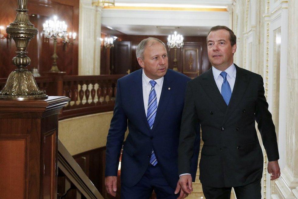 Baltarusijos ministras pirmininkas Sergejus Rumas susitiko su Rusijos ministru pirmininku Dmitrijumi Medvedevu. (nuotr. SCANPIX)