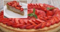 Riešutinis braškių pyragas (Nuotr. Baltoje lekštėje)