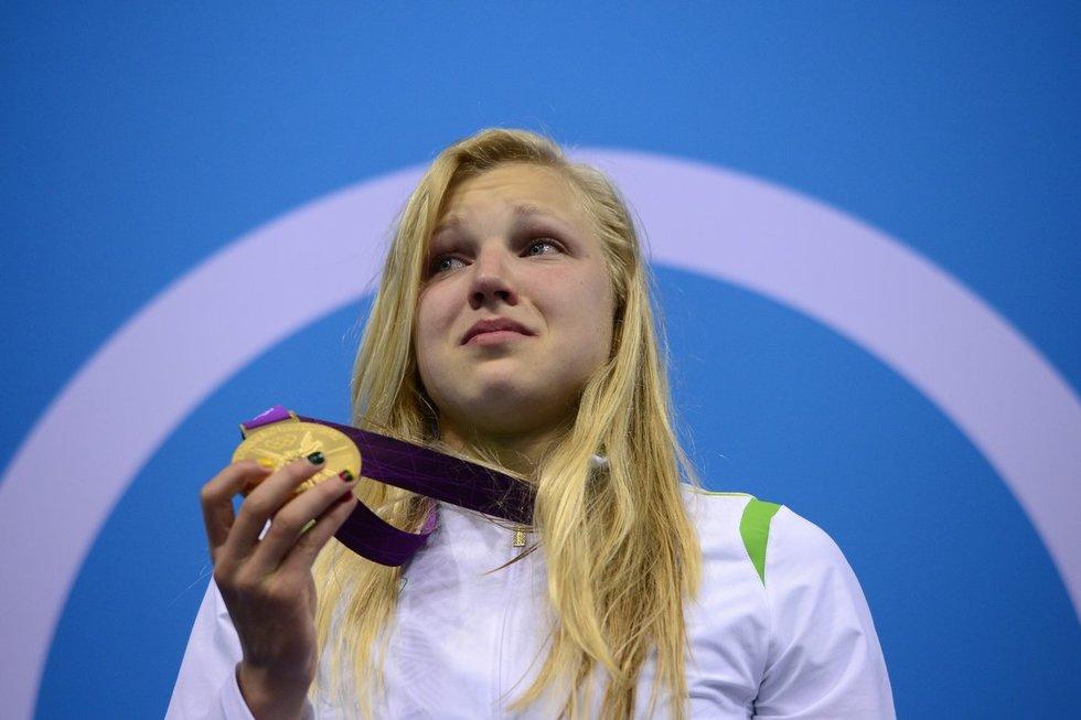 R.Meilutytė 2012 metais, kai Londone tapo olimpine čempione (nuotr. SCANPIX)