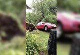 Audra nusiaubė Švenčionėlius: medžiai traiškė stogus, automobilius
