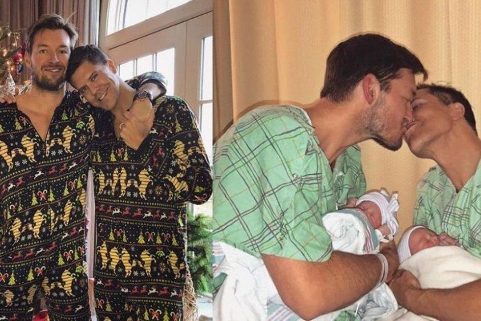 Fredrickas Eklundas (40 m.) ir Derekas Kaplanas - dvynukų tėvai. (nuotr. Instagram)