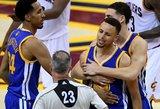 """Neišlaikė nervai: Stephenas Curry metė dantų apsaugą į """"Cavaliers"""" savininko sūnų"""