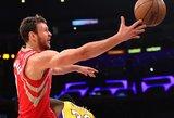 """Starto penkete susitikimą pradėjęs Donatas Motiejūnas prisidėjo prie """"Rockets"""" pergalės"""