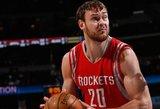 """Baudų metimus pro šalį svaidęs Donatas Motiejūnas """"sukrapštė"""" 10 taškų, bet """"Rockets"""" pralaimėjo"""