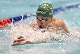 Rūtai Meilutytei - pasaulio plaukimo taurės varžybų Singapūre sidabras 100 m rungtyje krūtine
