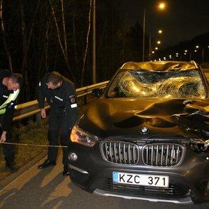 """Prie Grigiškių  į greitkelį išbėgęs briedis suniokojo """"CityBee"""" BMW, vairuotojas ligoninėje"""