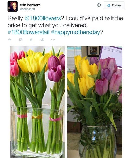 Gėlių pristatymo salonai: nuotraukos ir realybė (nuotr. Twitter)