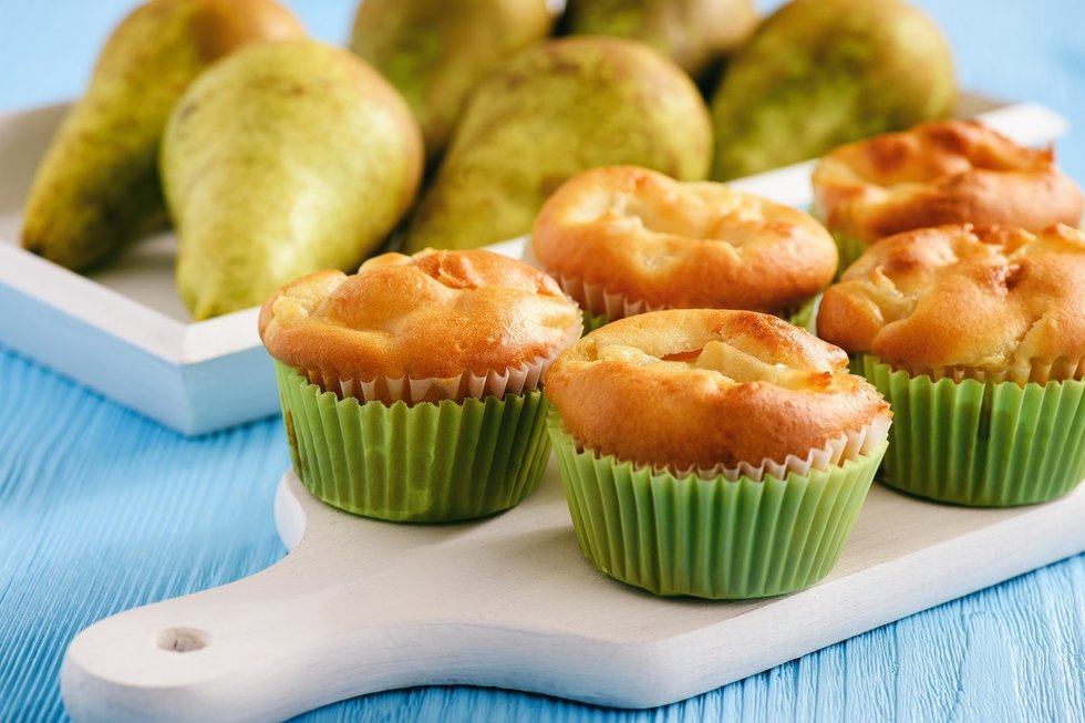 Gardūs kriaušių keksiukai. Shutterstock nuotr.