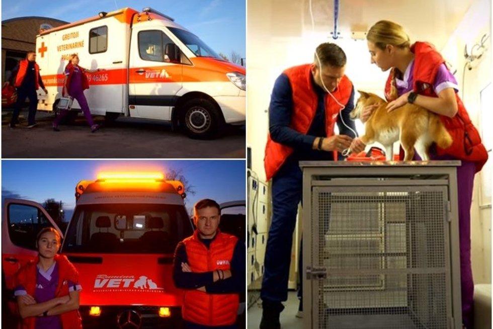 Pirmasis greitosios veterinarinės pagalbos automobilis Lietuvoje (nuotr. stop kadras)
