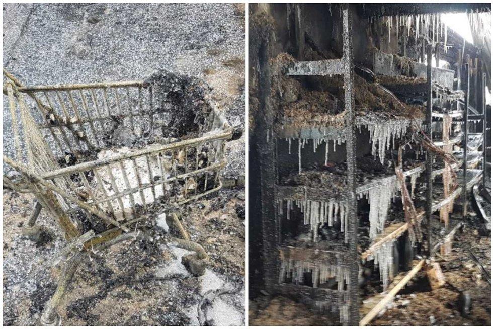 Kėdainių rajone sudegė parduotuvė