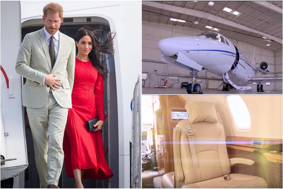 Princo Harry ir Meghan Markle kelionė privačiu lėktuvu (tv3.lt fotomontažas)