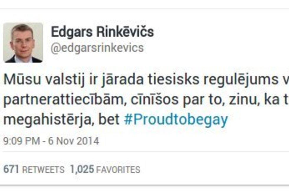 """Latvijos užsienio reikalų ministras: """"Twitter"""" paskyros niekas nenulaužė, aš iš tiesų esu gėjus (nuotr. Twitter)"""