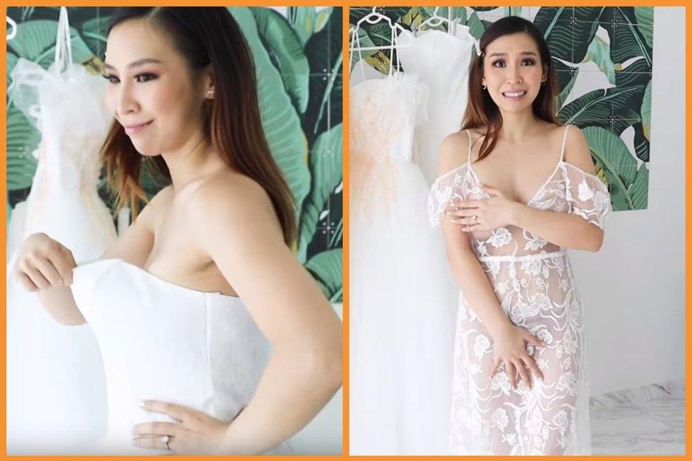 Mergina išbandė pigiausias vestuvines sukneles: įspūdžiai pranoko lūkesčius (nuotr. Tina Yong vaizdo įrašo stopkadras) (nuotr. YouTube)