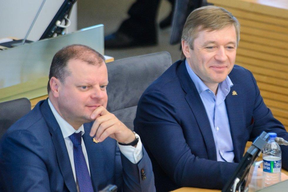 Saulius Skvernelis ir Ramūnas Karbauskis (nuotr. Eimanto Genio)