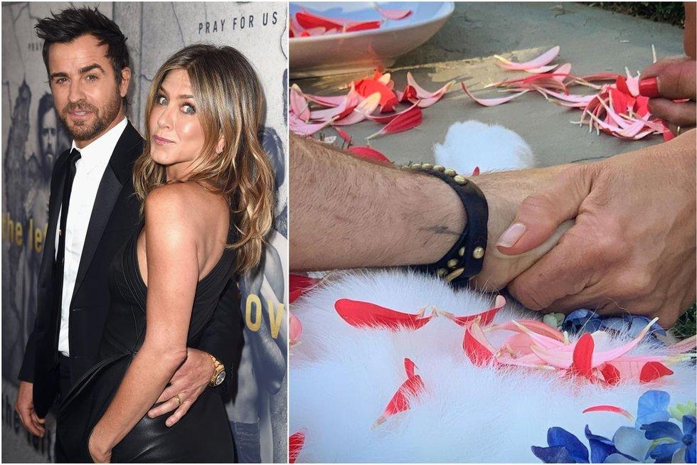 Mirė Aniston ir Theroux augintinė Dolly (tv3.lt fotomontažas)