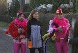 Kauno gatvėmis slampinėjo rožiniais gaidžių kostiumais apsitempę aktoriai