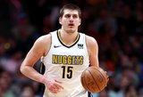 """Serbas taikėsi į trigubą dublį, tačiau """"Nuggets"""" nusileido """"Rockets"""""""