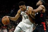 """Graikų monstro dominavimas atvedė """"Bucks"""" į pusiaukelę NBA finalo link"""