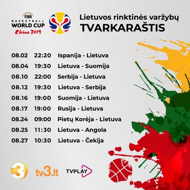 Naujausias Lietuvos rinktinės varžybų tvarkaraštis