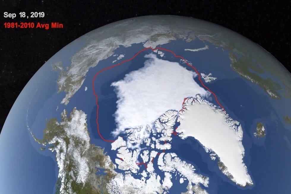 NASA nuotrauka, 1981-2010 metai, kaip pasikeitė Arkties ledynų užimamas plotas (nuotr. SCANPIX)