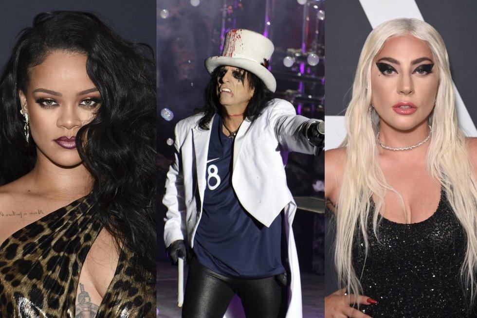 Rihanna,  Alice Cooper, Lady Gaga (nuotr. SCANPIX) tv3.lt fotomontažas