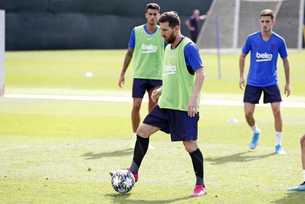Messi treniruotėje (nuotr. FC Barcelona)