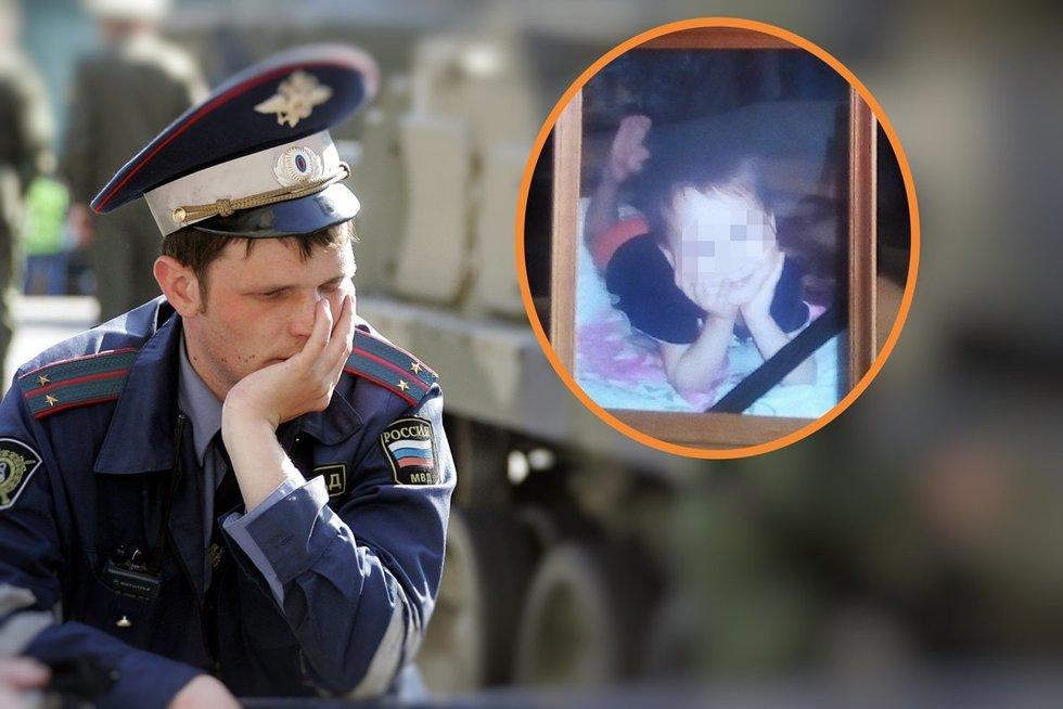 Rusijos policininkas, asociatyvi nuotr. ir automobilio partrenktas berniukas (soc. tinklų nuotr.) (nuotr. SCANPIX) tv3.lt fotomontažas