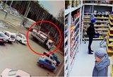 Rusijoje nufilmavo šiurpų sunkvežimio skrydį: dingę stabdžiai pridarė žalos