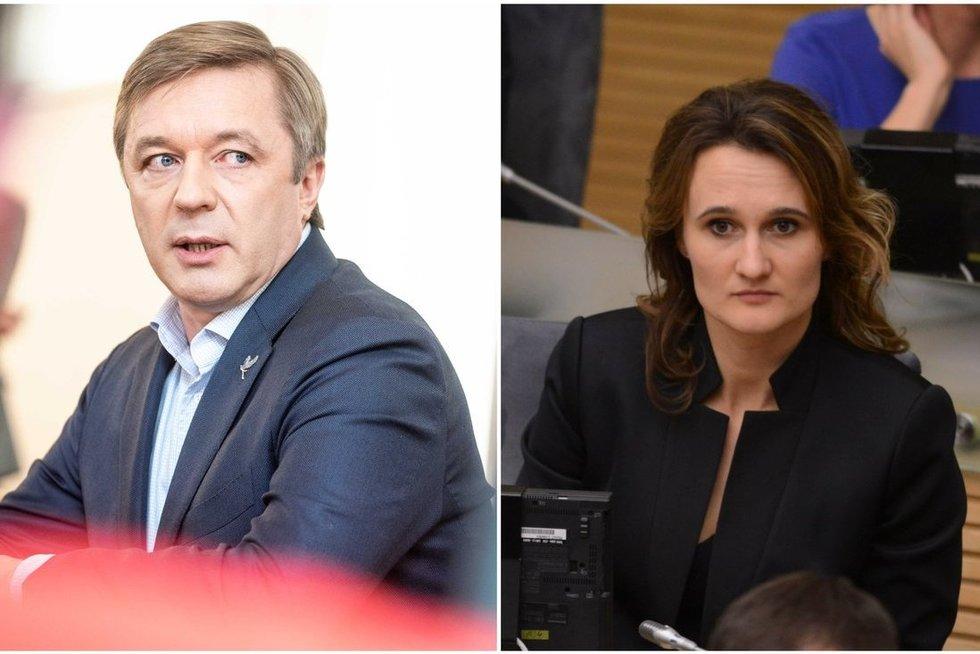 Ramūnas Karbauskis ir Viktorija Čmilytė-Nielsen (tv3.lt koliažas)