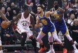 """Slaptą herojų suradę """"Raptors"""" triumfavo NBA finalo starte"""