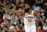 """Hardenas buvo toli nuo sau įprastų skaičių, bet """"Rockets"""" įveikė """"Raptors"""""""