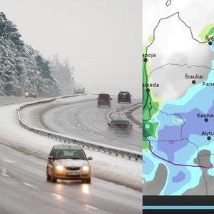 Per Lietuvą slenka sniego debesis