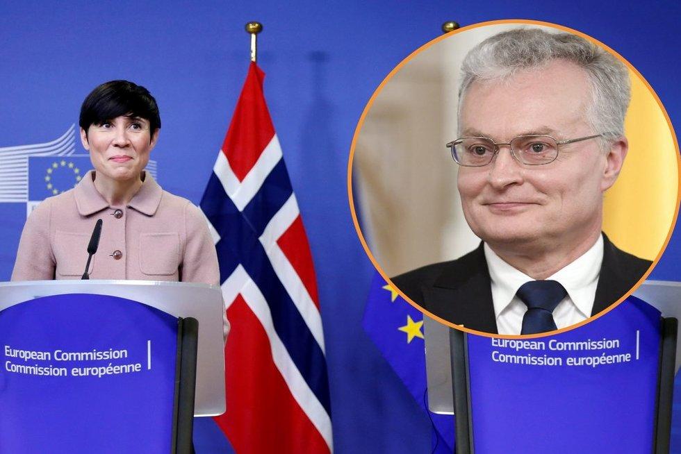 Norvegijos užsienio reikalų ministrė Ine Eriksen Soreide ir Lietuvos prezidentas Gitanas Nausėda (nuotr. SCANPIX) tv3.lt fotomontažas