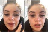 Kenčianti mergina perspėja: blakstienų priauginimas atnešė skausmą ir ašaras
