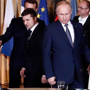 """Paryžiuje prasidėjo """"Normandijos ketverto"""" susitikimas: prie bendro stalo –Zelenskis ir Putinas"""