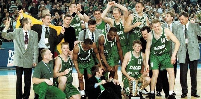 """Kauno """"Žalgiris"""" – 1999 metų Eurolygos čempionai (nuotr. Euroleague Basketball)"""