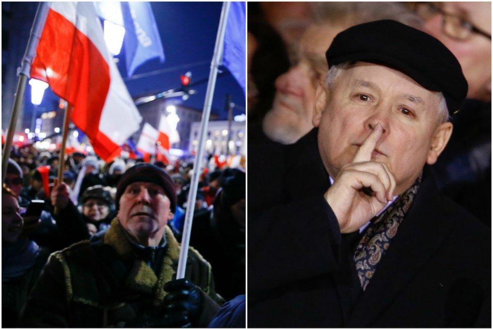 Lenkai išėjo į gatves dėl valdžios vykdomų demokratijos suvaržymų (nuotr. SCANPIX) tv3.lt fotomontažas