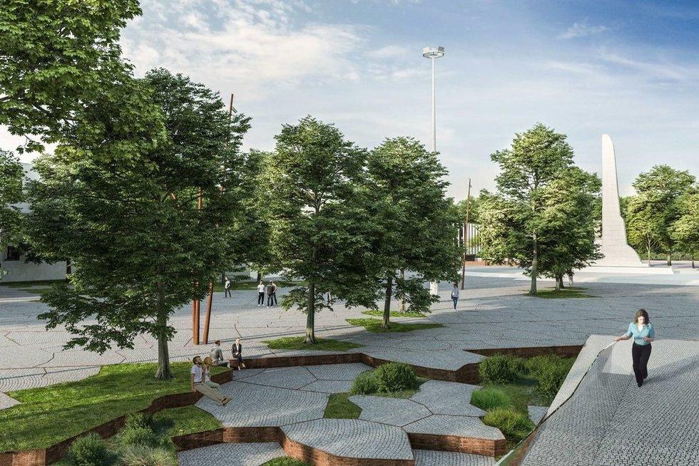 Aiškėja, kaip po rekonstrukcijos atrodys greta S. Dariaus ir S. Girėno stadiono esanti aikštė (nuotr. Organizatorių)