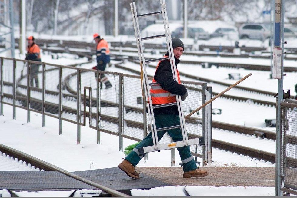 Darbininkai žiemą  (nuotr. Fotodiena.lt)