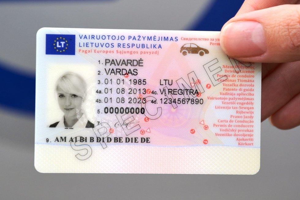 Vairuotojo pažymėjimas (nuotr. Organizatorių)